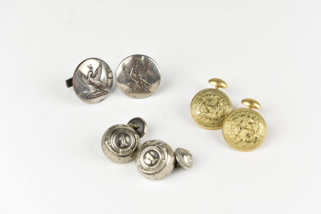 (3) PAIRS OF BUTTON CUFFLINKS