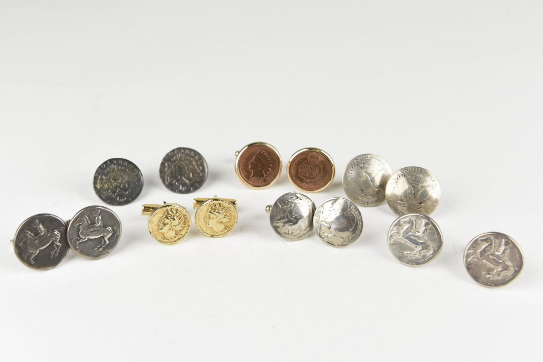 (6) PAIRS OF COIN CUFFLINKS