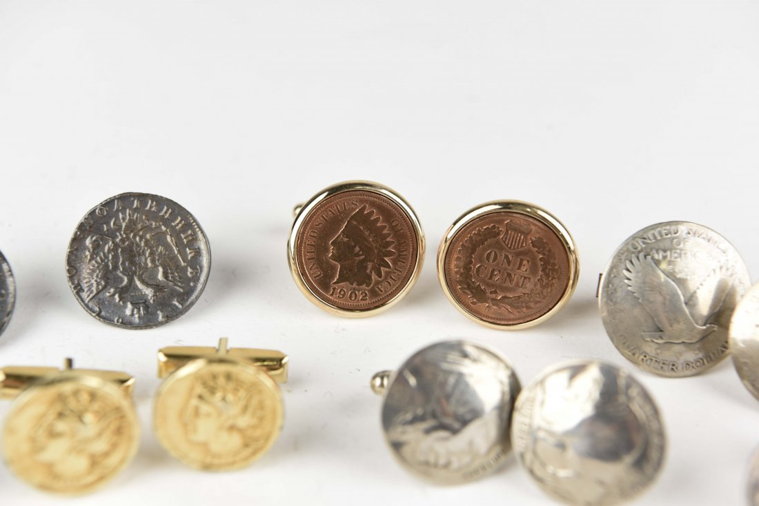 (6) PAIRS OF COIN CUFFLINKS - 5