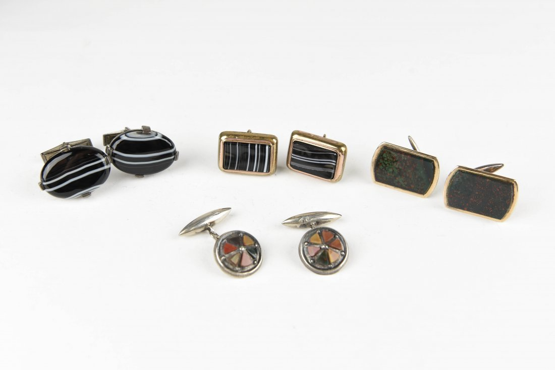 (4) PAIRS OF AGATE AND HARDSTONE CUFFLINKS