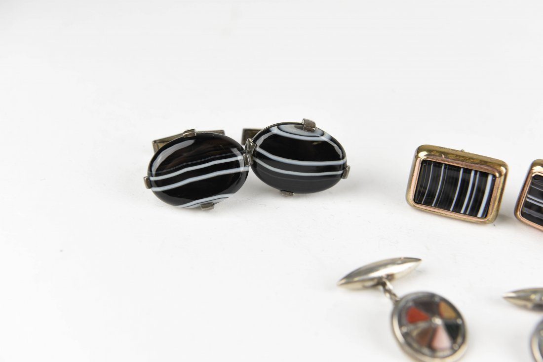 (4) PAIRS OF AGATE AND HARDSTONE CUFFLINKS - 2