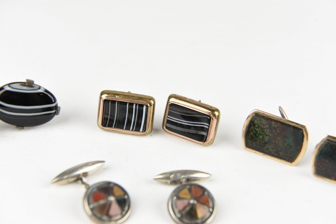 (4) PAIRS OF AGATE AND HARDSTONE CUFFLINKS - 3