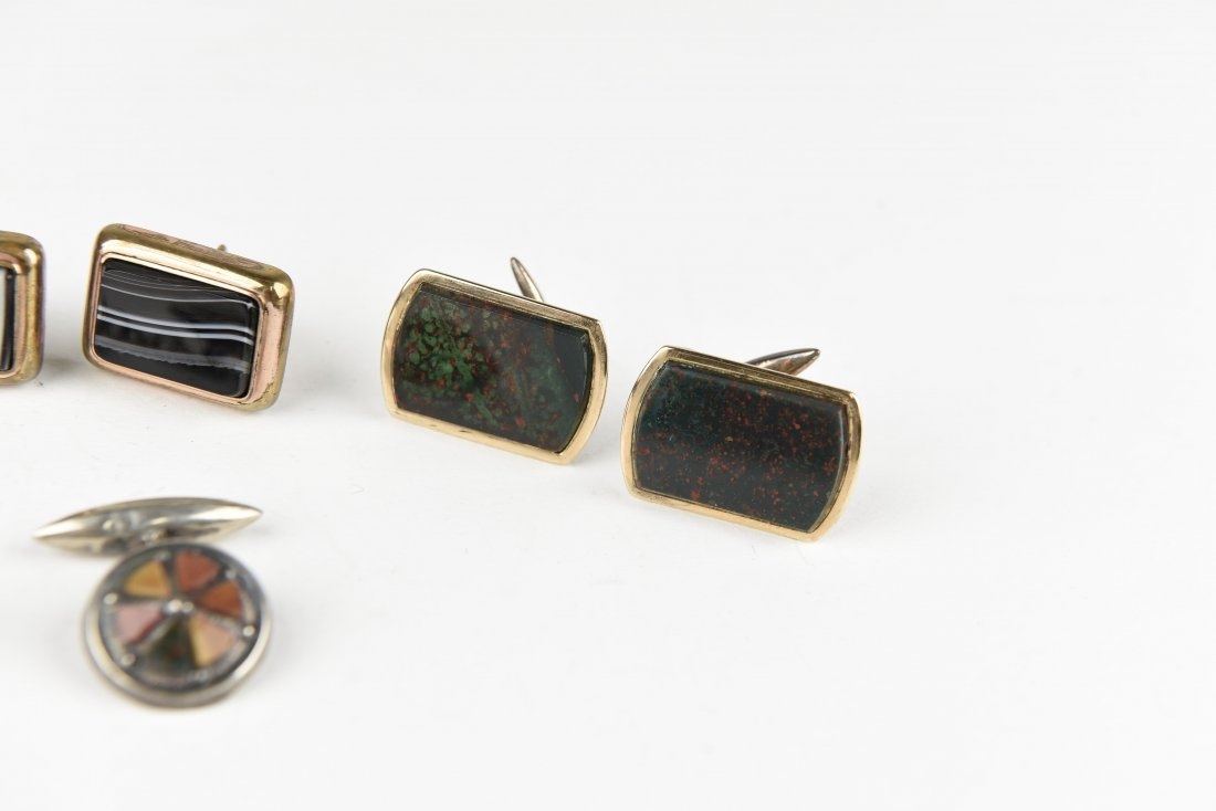 (4) PAIRS OF AGATE AND HARDSTONE CUFFLINKS - 4