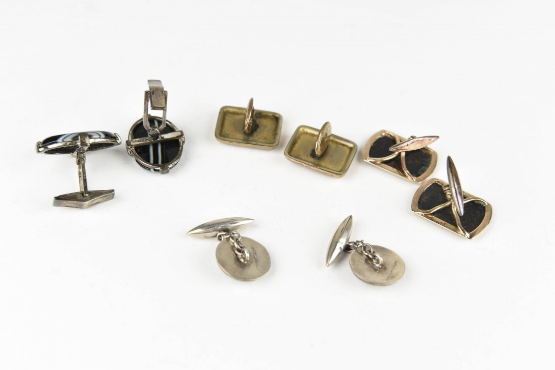 (4) PAIRS OF AGATE AND HARDSTONE CUFFLINKS - 6