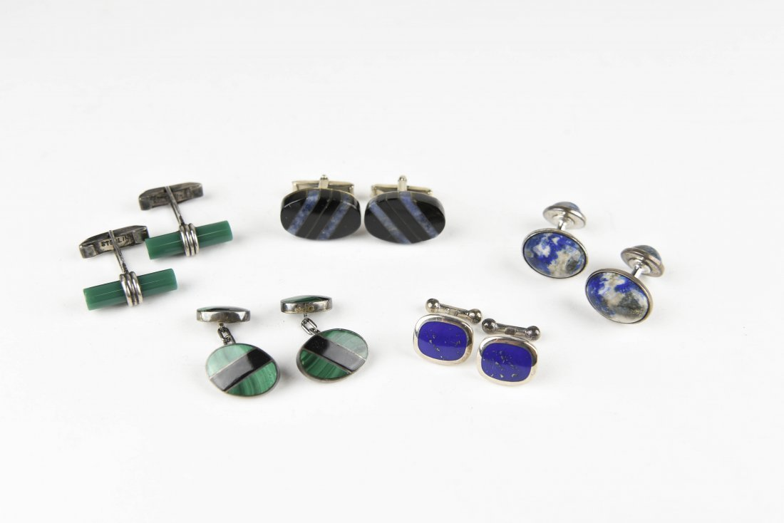 (5) PAIRS OF STONE & SILVER CUFFLINKS