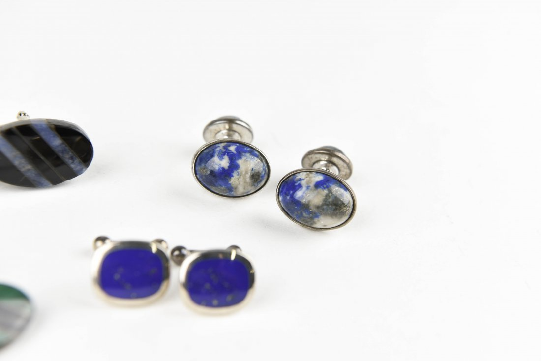 (5) PAIRS OF STONE & SILVER CUFFLINKS - 3