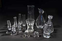 GROUPING OF CRYSTAL VASES STEUBEN BACCARAT ETC
