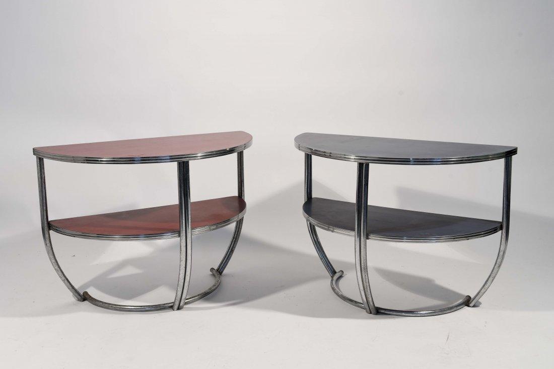 PAIR OF ART DECO CHROME END TABLES