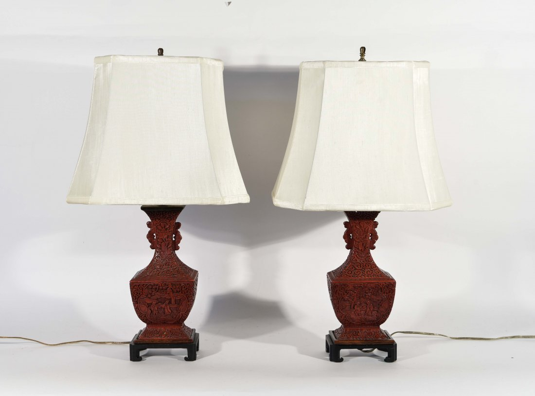 PAIR OF CHINESE CINNABAR LAMPS