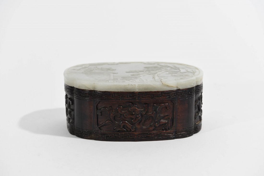 CHINESE CARVED JADE BOX