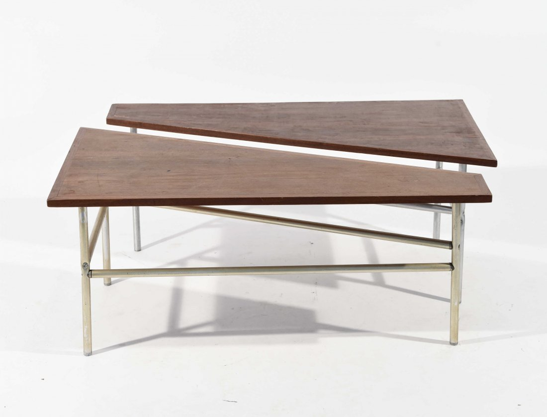 PAIR OF OPPOSING TRIANGLE END TABLES