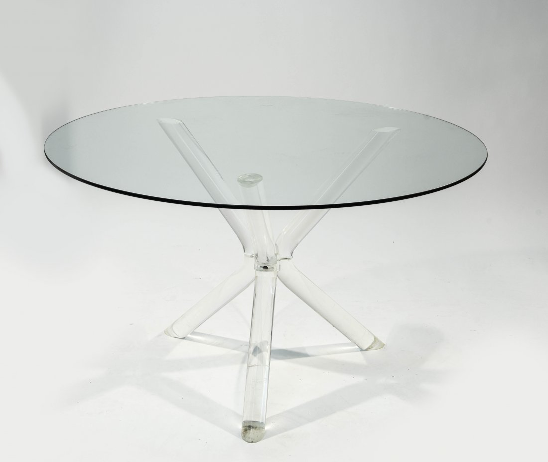LUCITE AND GLASS TABLE IN THE STYLE OF CHARLES