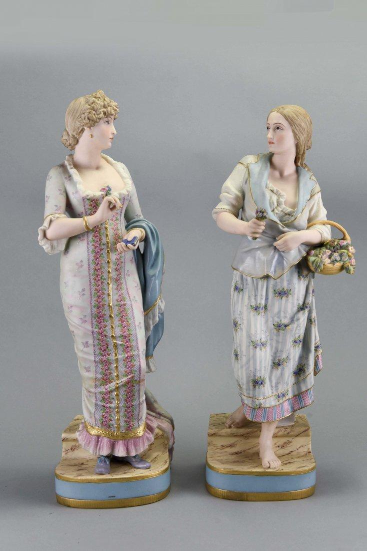 PAIR OF COPELAND PORCELAIN LADY FIGURES