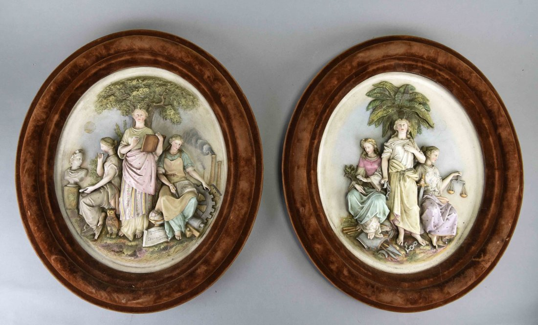 PAIR OF PORCELAIN WALL PLAQUES
