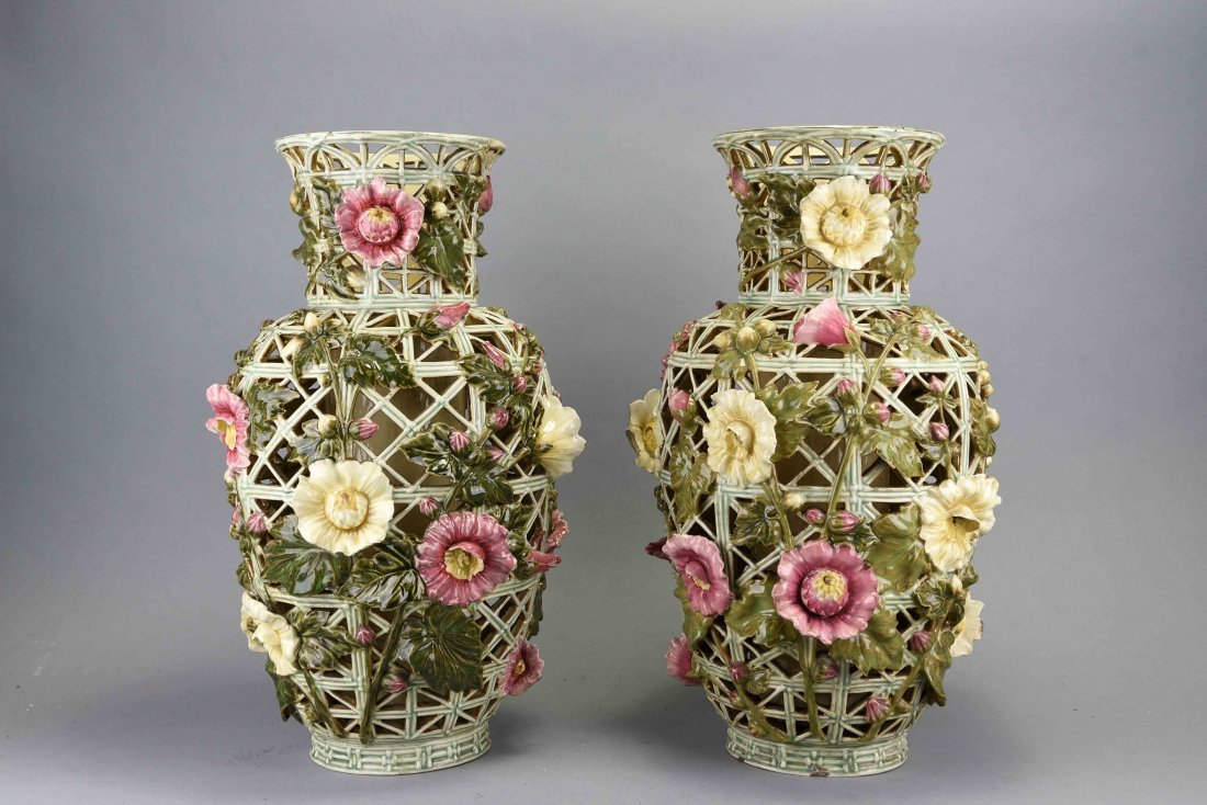 PAIR OF ZOLSNAY PIERCED CERAMIC VASES