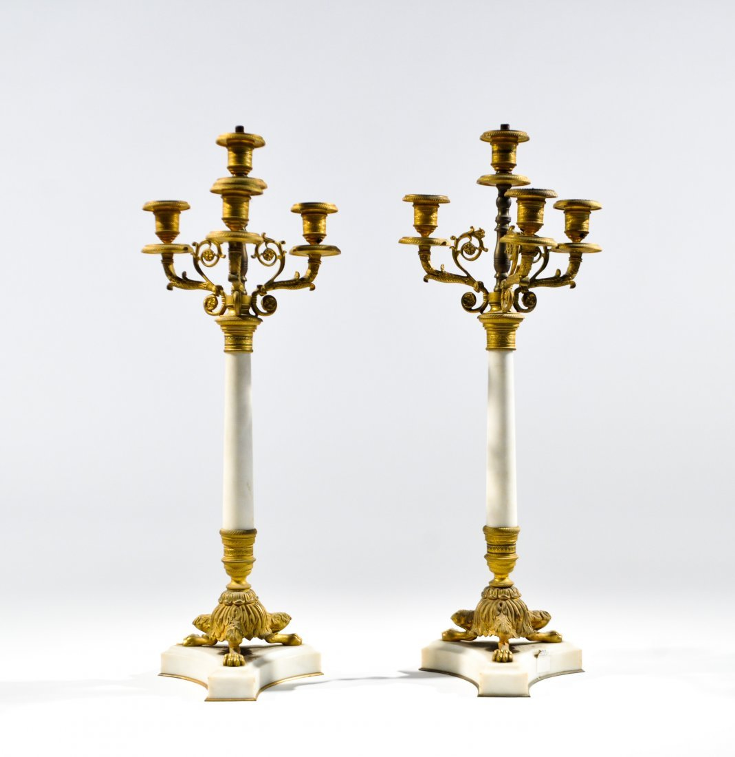 PAIR OF FRENCH BRONZE & MARBLE EMPIRE CANDELABRAS