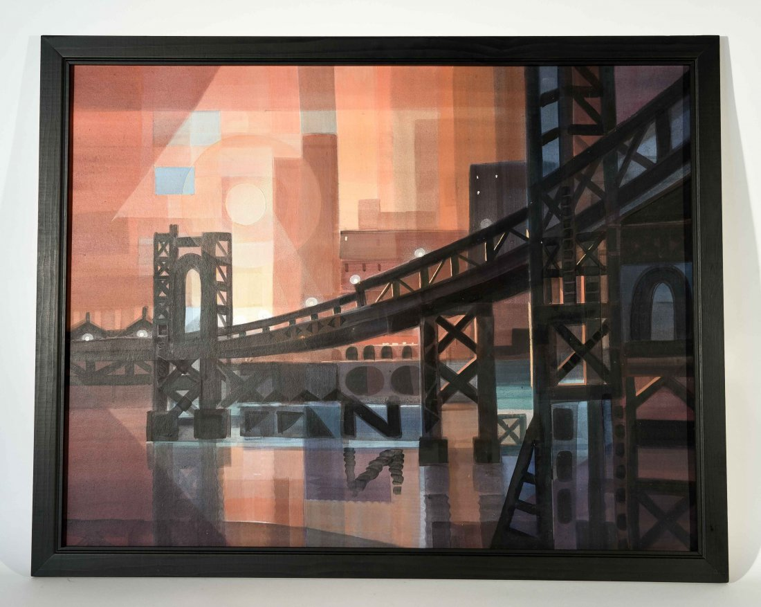 MODERNIST ABSTRACT CITY SCAPE O/B