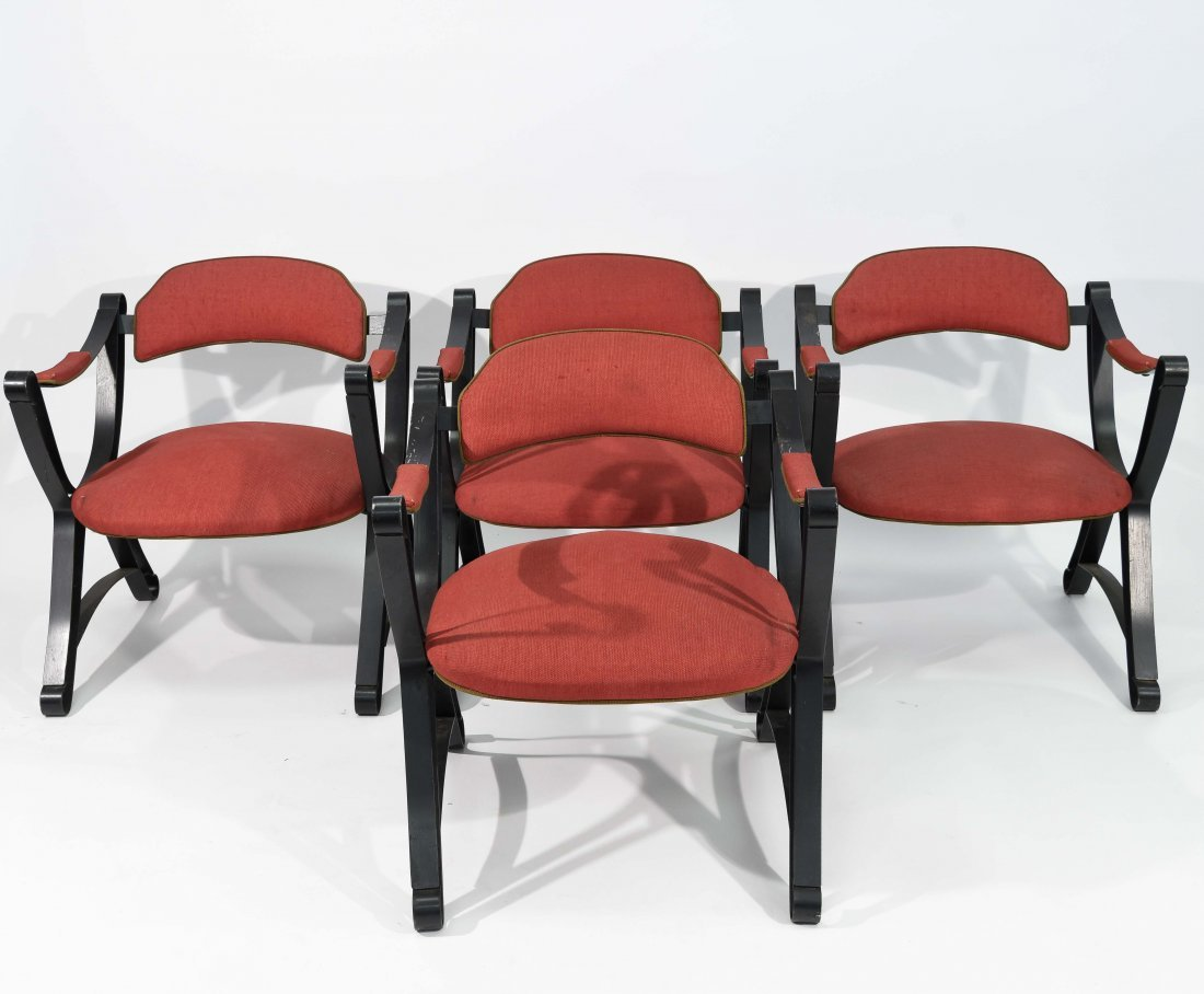 (4) IRON FRAME SWAG ARM CHAIRS