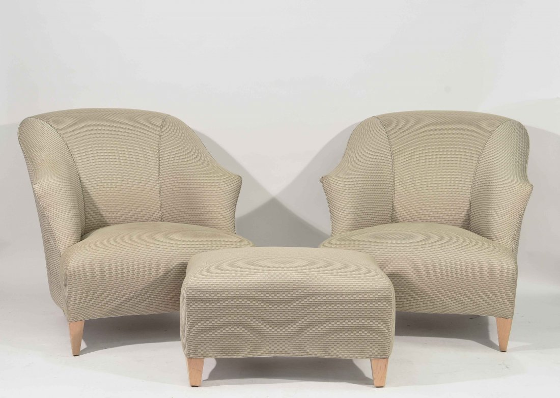 TWO DONGHIA CHAIRS AND OTTOMAN