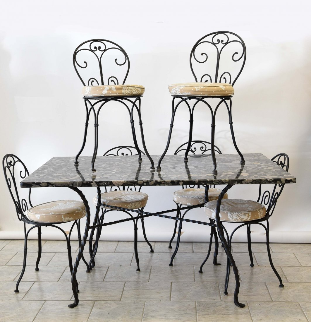 IRON & MARBLE TABLE & CHAIRS