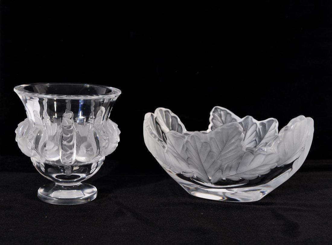 LALIQUE GLASS BOWL & VASE