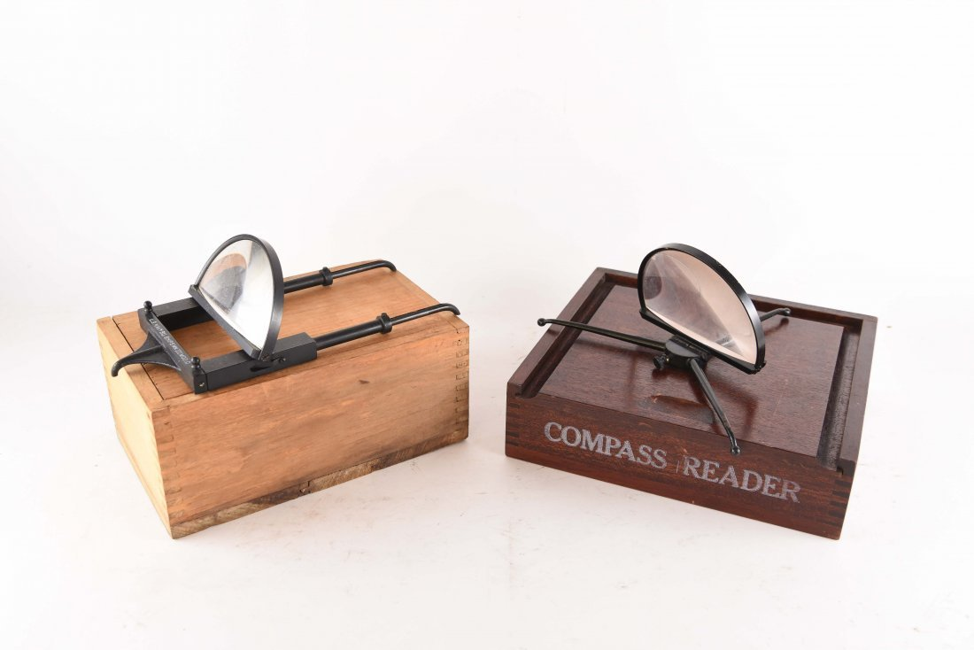 TWO COMPASS MAGNIFIERS