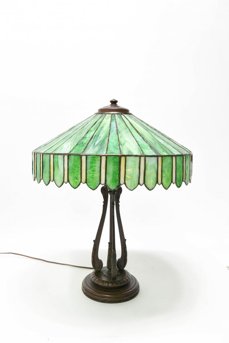 HANDEL SLAG GLASS PANEL LAMP