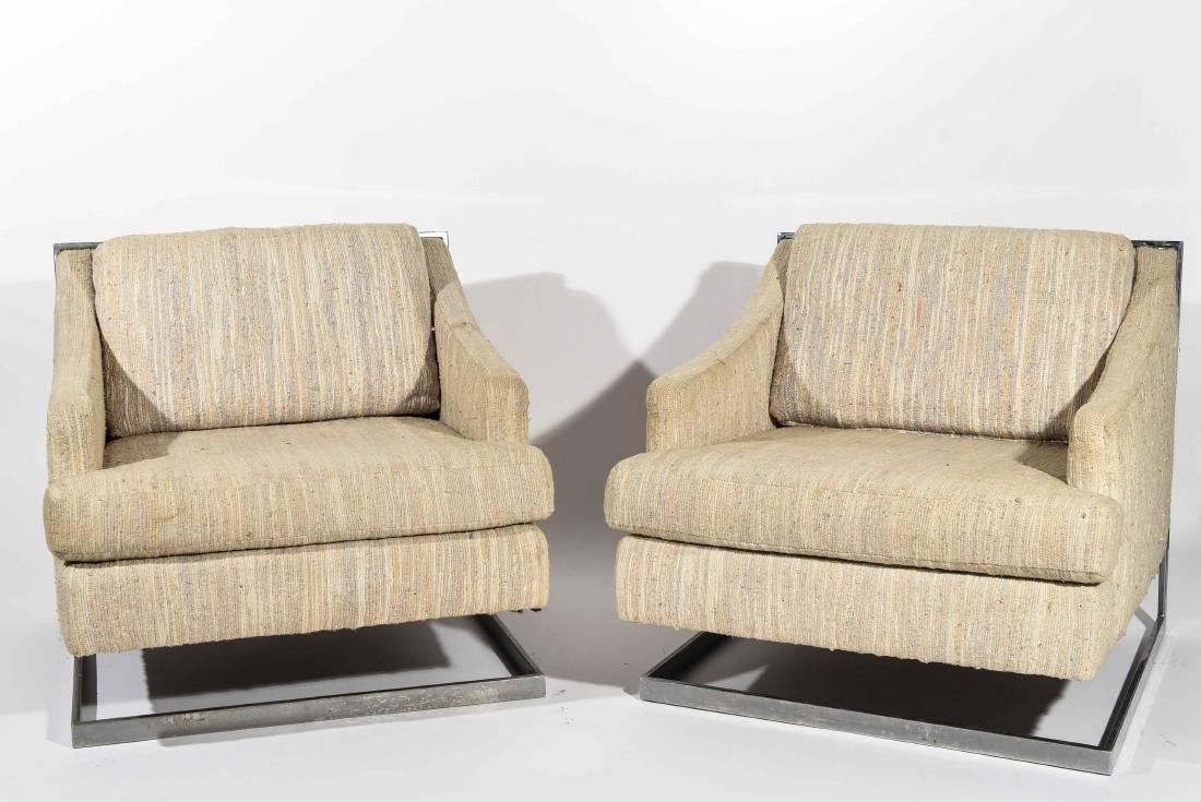 (2) MILO BAUGHMAN STYLE CANTILEVER CHAIRS