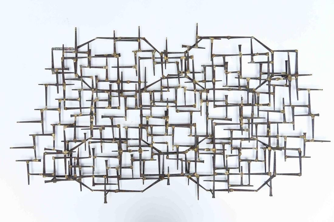 MID-CENTURY BRUTALIST NAIL SCULPTURE WALL ART