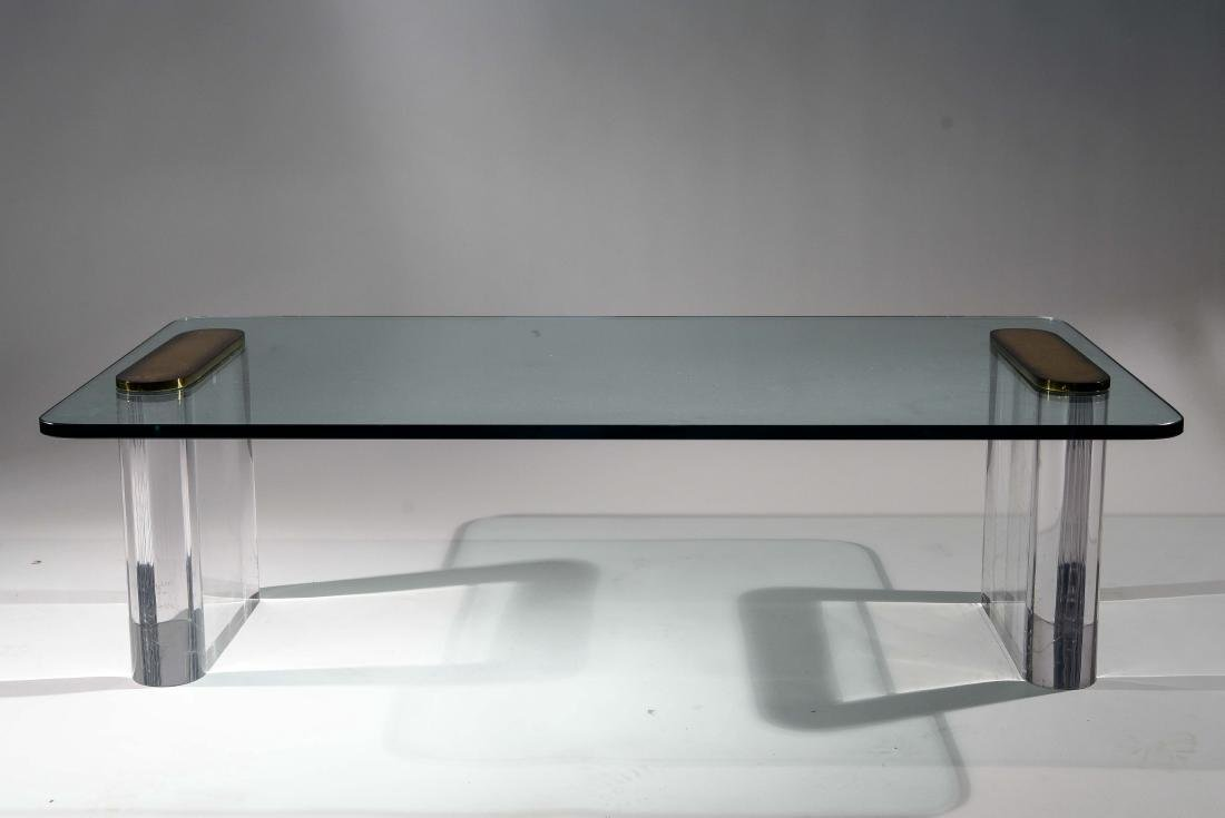 KARL SPRINGER LUCITE & GLASS COFFEE TABLE
