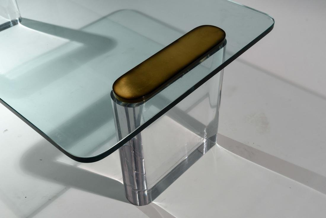 KARL SPRINGER LUCITE & GLASS COFFEE TABLE - 4