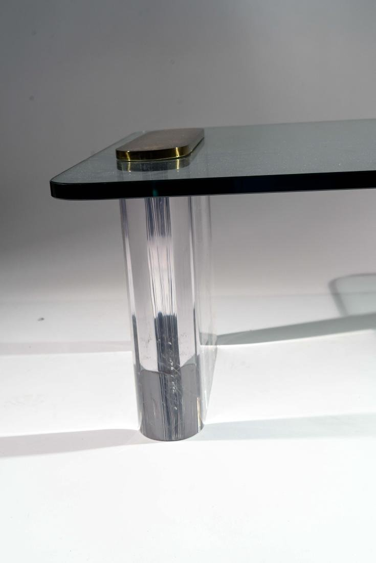 KARL SPRINGER LUCITE & GLASS COFFEE TABLE - 6