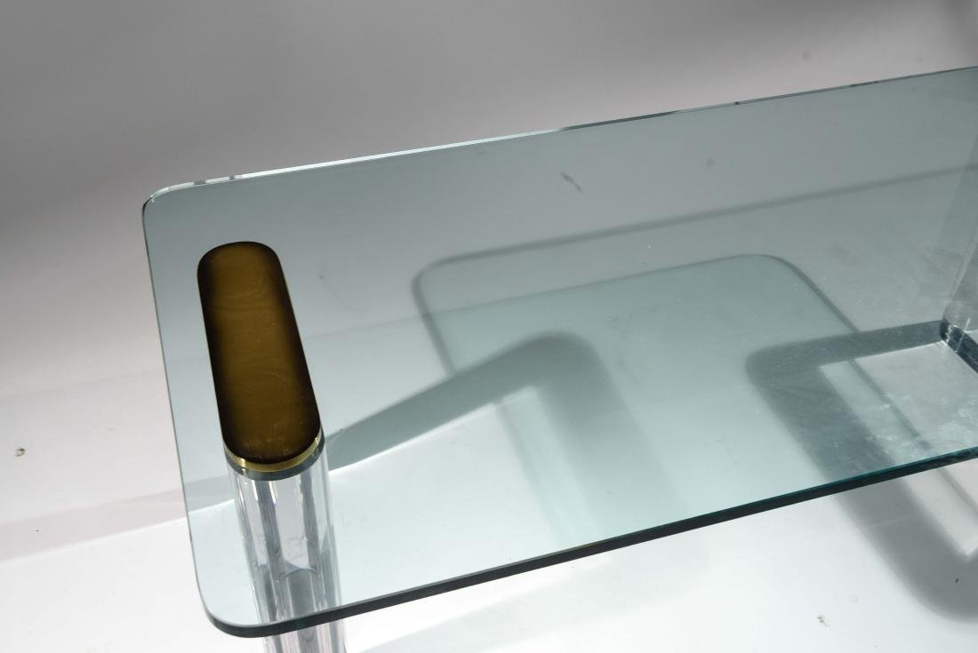 KARL SPRINGER LUCITE & GLASS COFFEE TABLE - 7