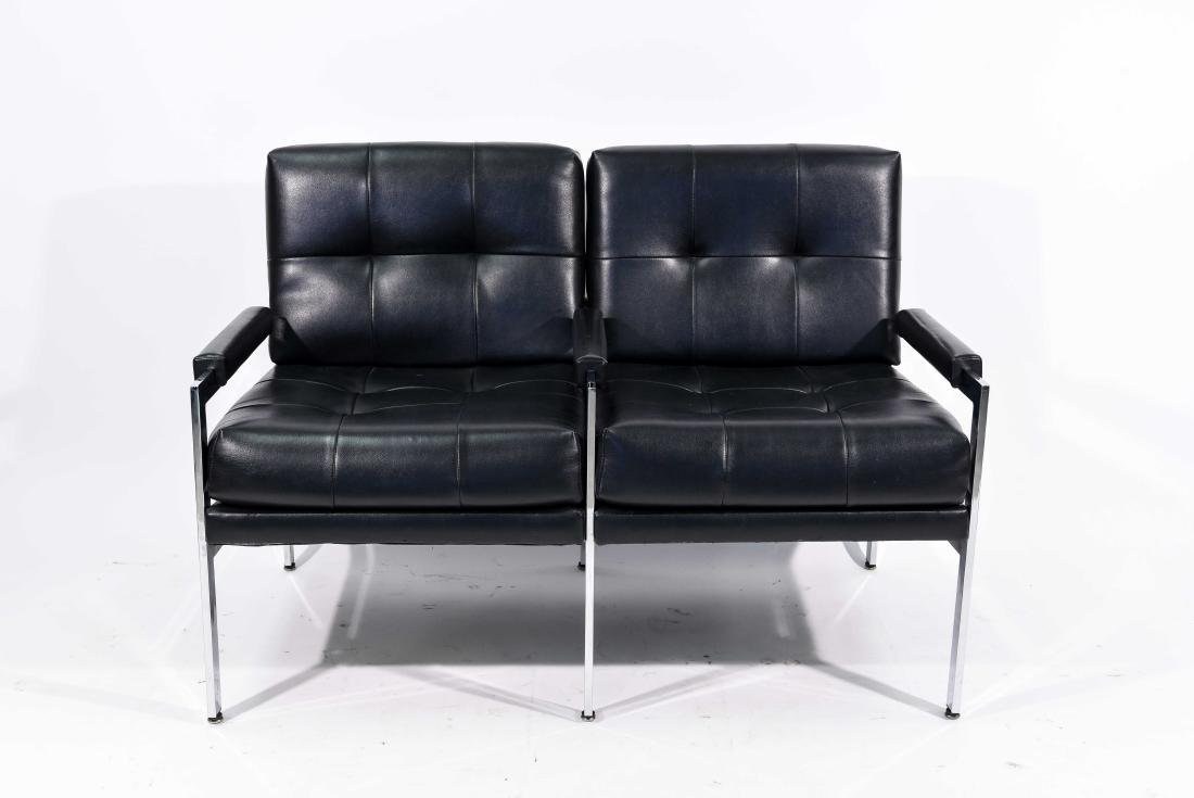 MID-CENTURY PATRICIAN BLACK LEATHER CHAIR