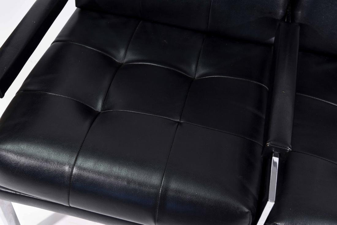 MID-CENTURY PATRICIAN BLACK LEATHER CHAIR - 2
