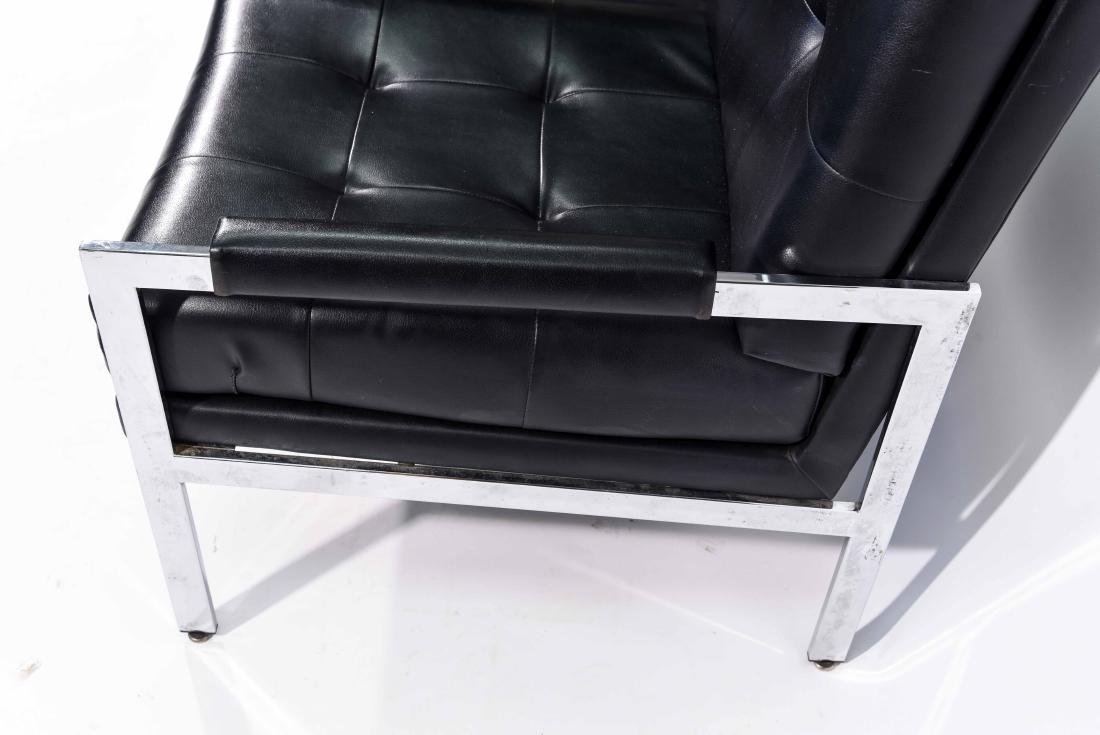 MID-CENTURY PATRICIAN BLACK LEATHER CHAIR - 5