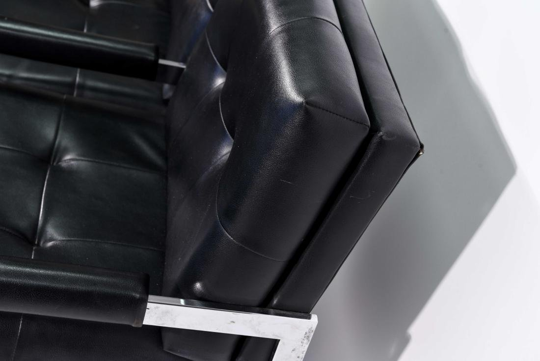 MID-CENTURY PATRICIAN BLACK LEATHER CHAIR - 6