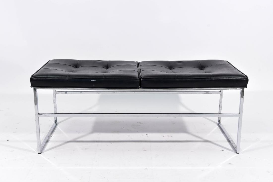 MID-CENTURY PATRICIAN BLACK LEATHER BENCH
