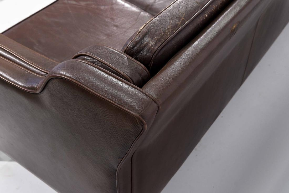 BORGE MOGENSEN THREE SEAT LEATHER SOFA - 7
