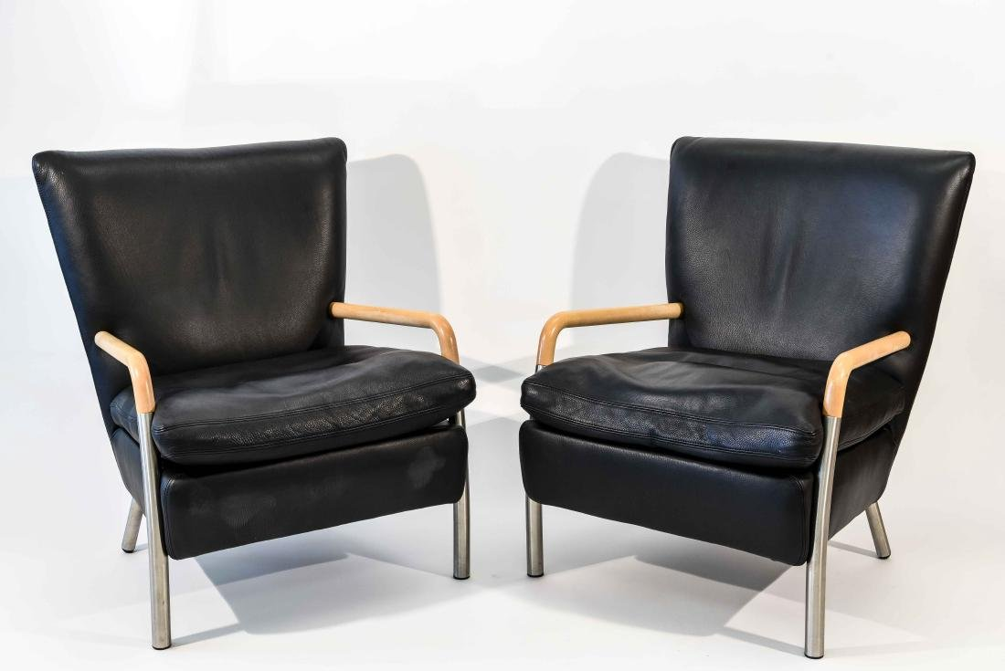 PAIR OF NISSEN & GEHL BLACK LEATHER CHAIRS