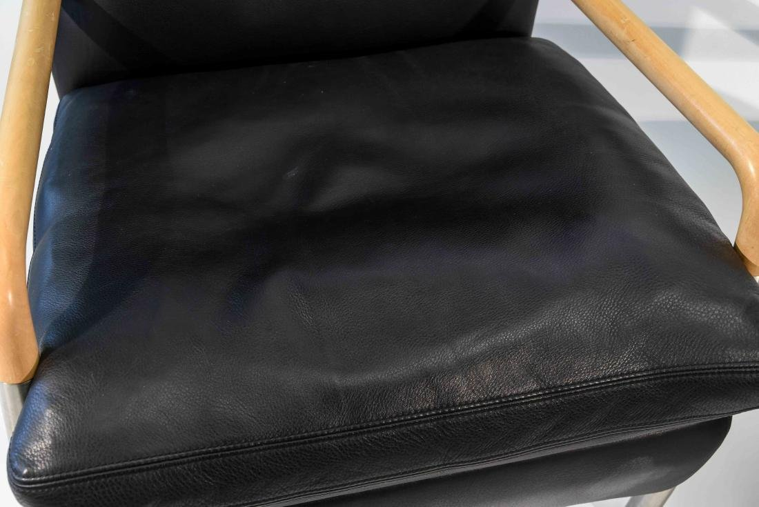 PAIR OF NISSEN & GEHL BLACK LEATHER CHAIRS - 2