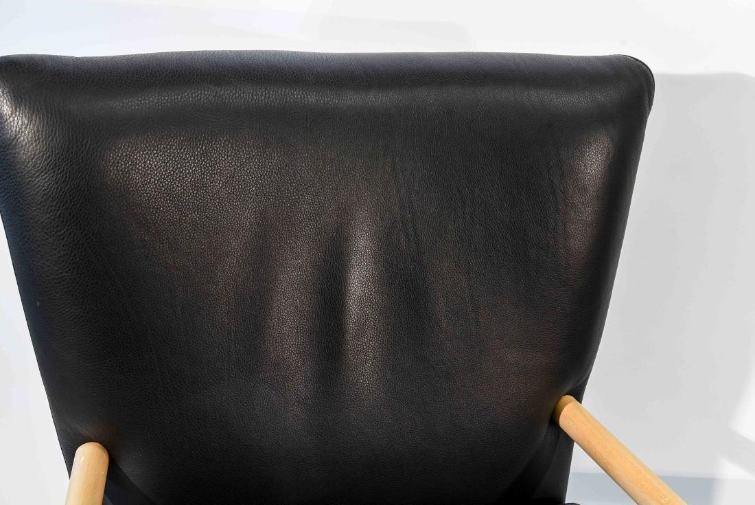 PAIR OF NISSEN & GEHL BLACK LEATHER CHAIRS - 3