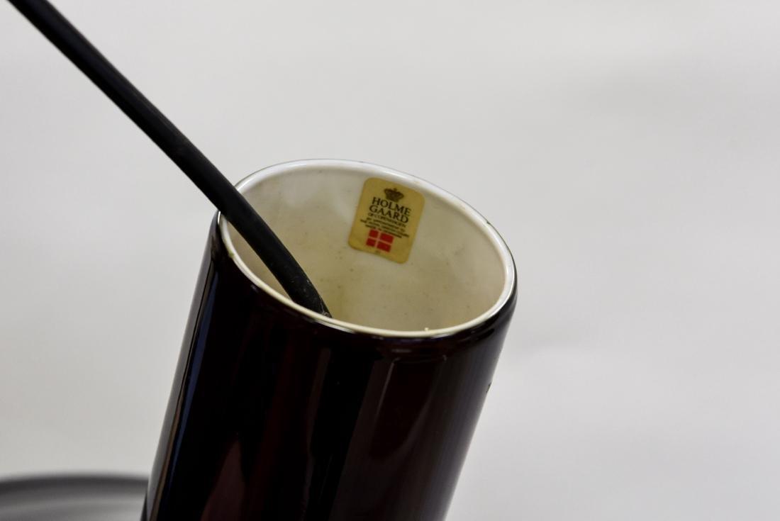 HOLMEGAARD 1960'S BLACK GLASS DANISH PENDANT LAMP - 4