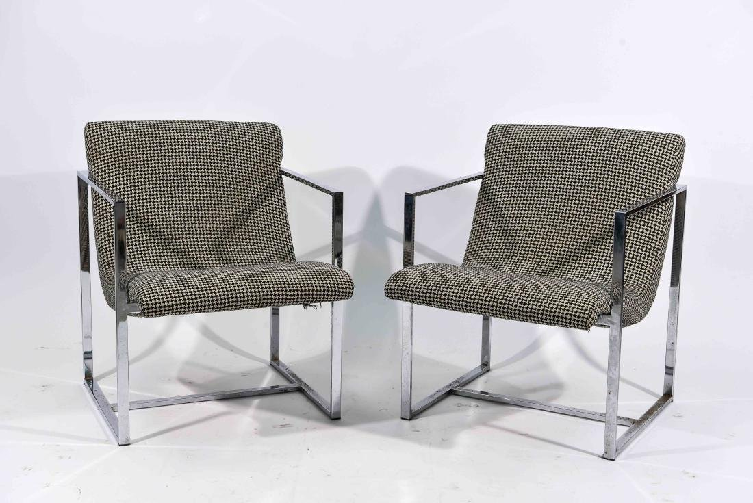 PAIR OF MILO BAUGHMAN STYLE CHAIRS