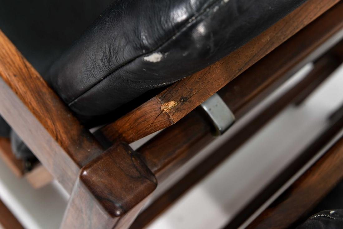 PAIR OF ROSEWOOD & LEATHER CHAIRS - 10