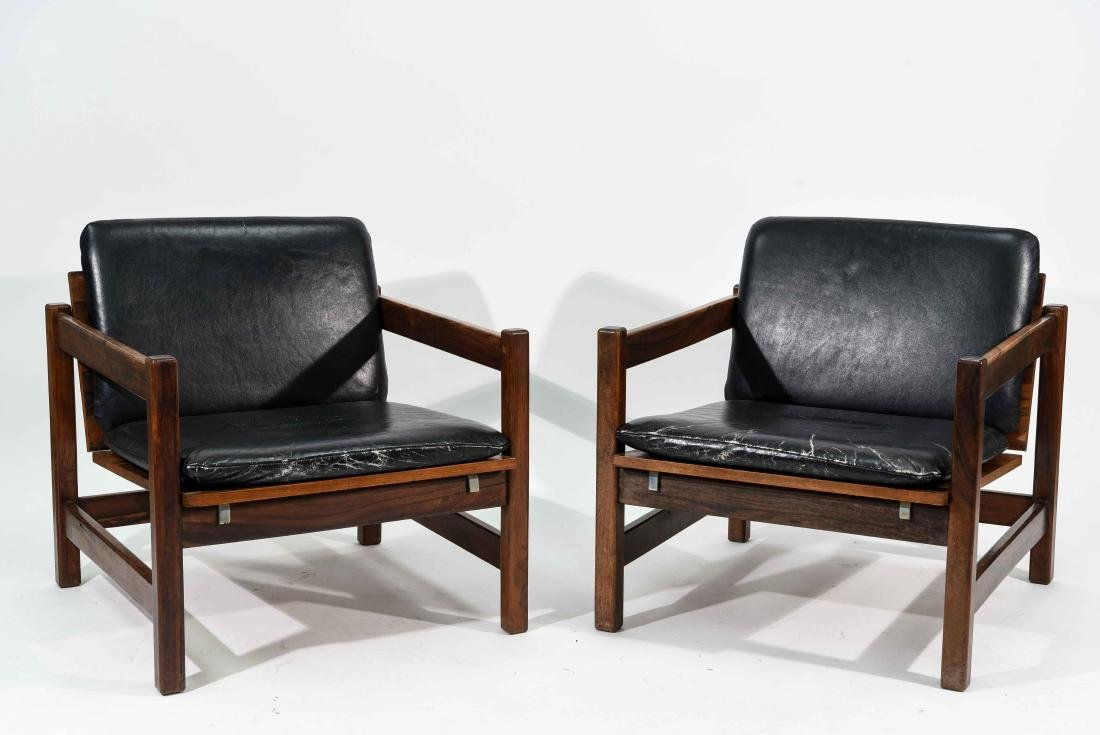 PAIR OF ROSEWOOD & LEATHER CHAIRS