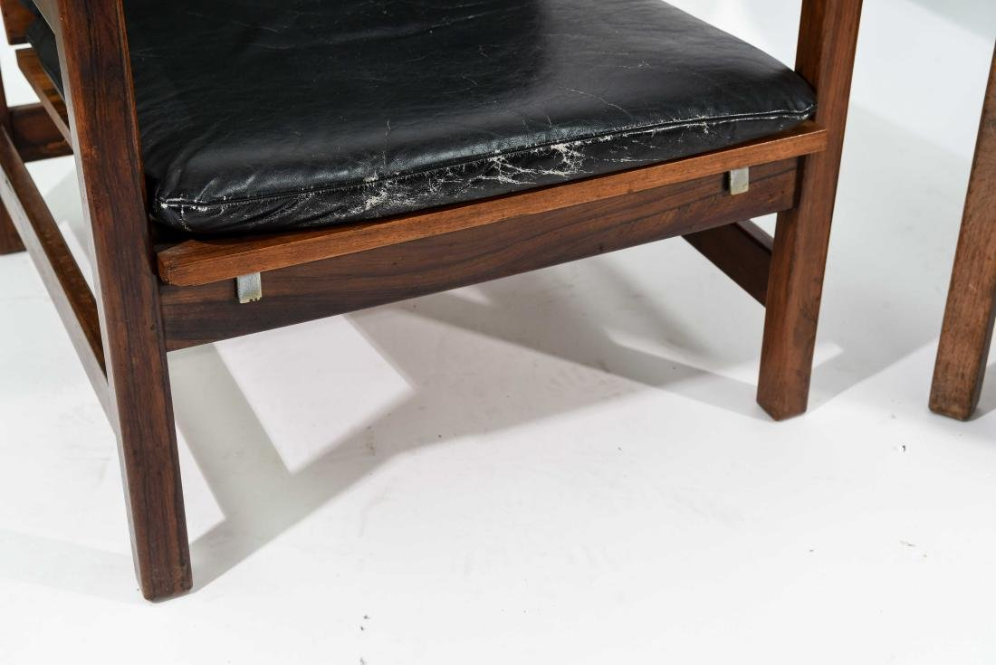 PAIR OF ROSEWOOD & LEATHER CHAIRS - 5