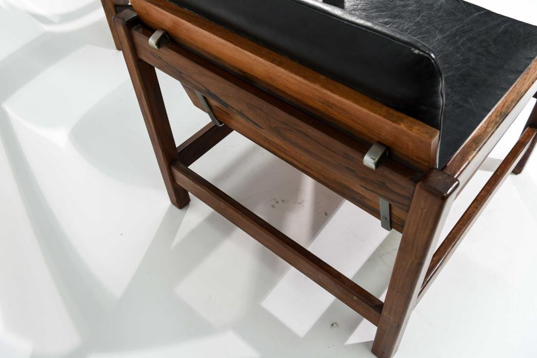 PAIR OF ROSEWOOD & LEATHER CHAIRS - 7