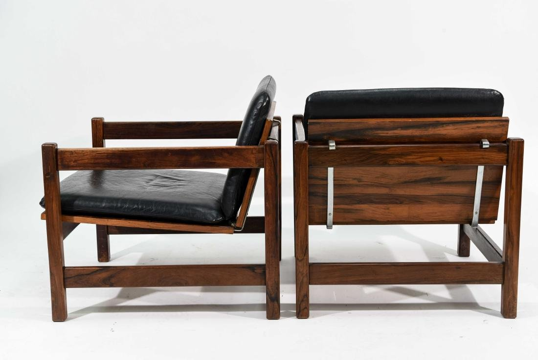 PAIR OF ROSEWOOD & LEATHER CHAIRS - 9