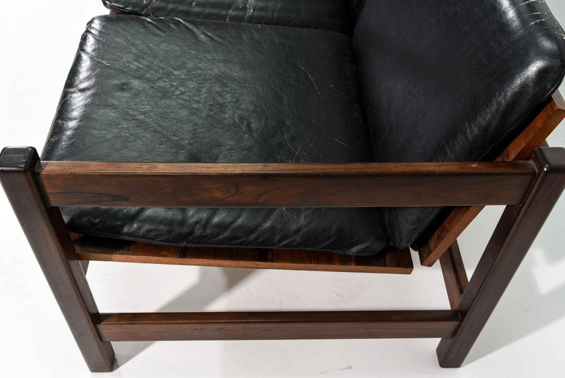 ROSEWOOD & LEATHER SOFA - 5